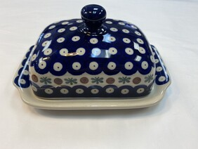 Blue Jasmine Polish Pottery Butter Dish (Blue & White)